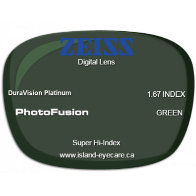 Zeiss Digital Lens 1.67 DuraVision Platinum Photofusion - Green