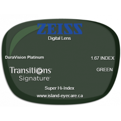 Zeiss Digital Lens 1.67 DuraVision Platinum Transitions Signature - Green