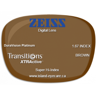Zeiss Digital Lens 1.67 DuraVision Platinum Transitions XTRActive - Brown