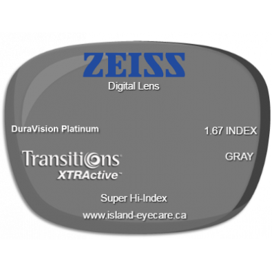 Zeiss Digital Lens 1.67 DuraVision Platinum Transitions XTRActive - Gray