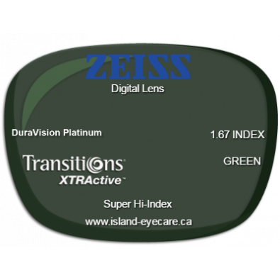 Zeiss Digital Lens 1.67 DuraVision Platinum Transitions XTRActive - Green