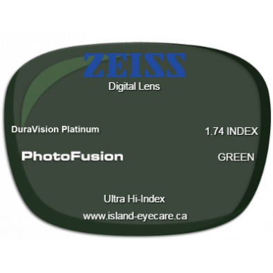Zeiss Digital Lens 1.74 DuraVision Platinum Photofusion - Green