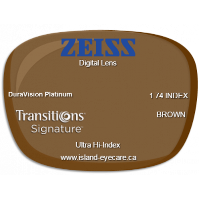 Zeiss Digital Lens 1.74 DuraVision Platinum Transitions Signature - Brown