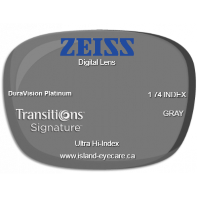 Zeiss Digital Lens 1.74 DuraVision Platinum Transitions Signature - Gray