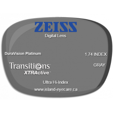 Zeiss Digital Lens 1.74 DuraVision Platinum Transitions XTRActive - Gray