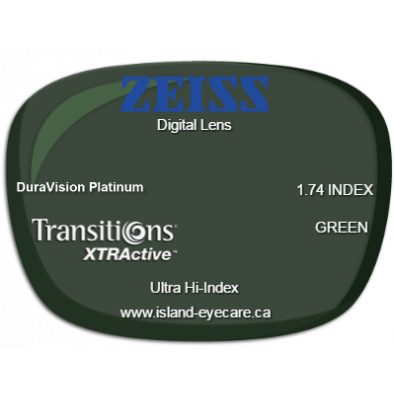 Zeiss Digital Lens 1.74 DuraVision Platinum Transitions XTRActive - Green