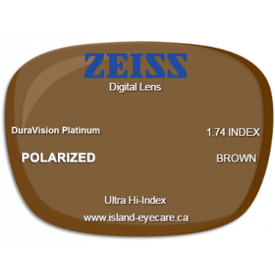 Zeiss Digital Lens 1.74 DuraVision Platinum Zeiss Polarized - Brown