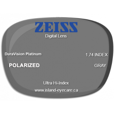 Zeiss Digital Lens 1.74 DuraVision Platinum Zeiss Polarized - Gray