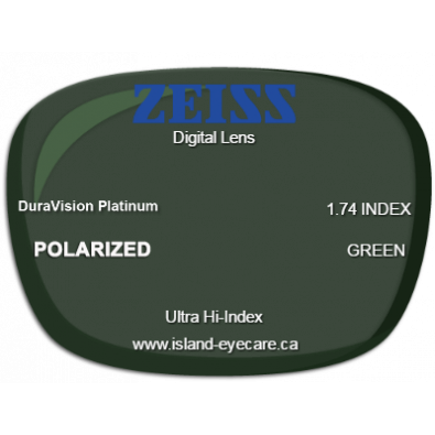 Zeiss Digital Lens 1.74 DuraVision Platinum Zeiss Polarized - Green