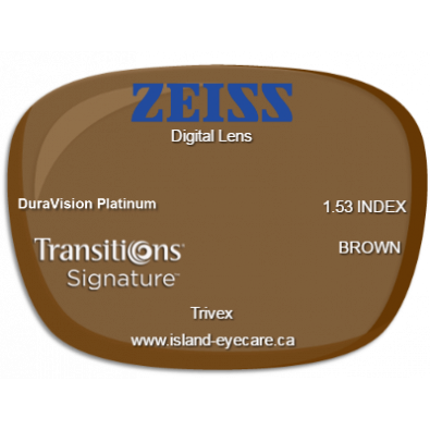 Zeiss Digital Lens Trivex DuraVision Platinum Transitions Signature - Brown