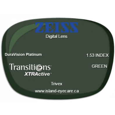 Zeiss Digital Lens Trivex DuraVision Platinum Transitions XTRActive - Green