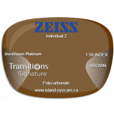 Zeiss Individual 2 1.59 DuraVision Platinum Transitions Signature - Brown