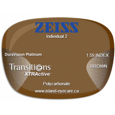 Zeiss Individual 2 1.59 DuraVision Platinum Transitions XTRActive - Brown