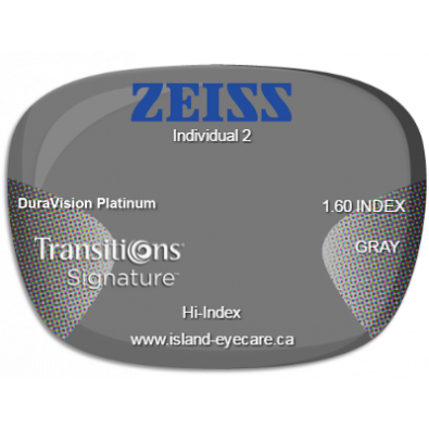 Zeiss Individual 2 1.60 DuraVision Platinum Transitions Signature - Gray