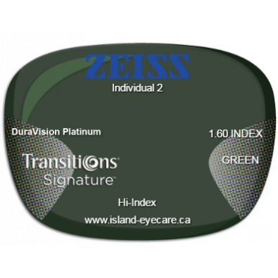 Zeiss Individual 2 1.60 DuraVision Platinum Transitions Signature - Green