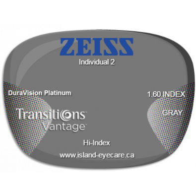 Zeiss Individual 2 1.60 DuraVision Platinum Transitions Vantage - Gray