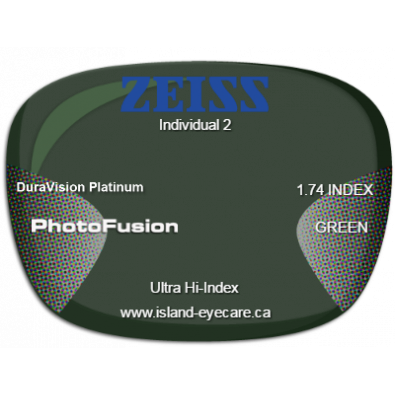 Zeiss Individual 2 1.74 DuraVision Platinum Photofusion - Green