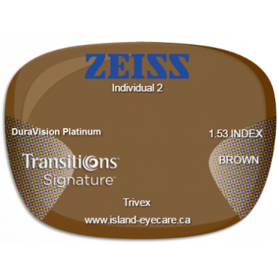 Zeiss Individual 2 Trivex DuraVision Platinum Transitions Signature - Brown
