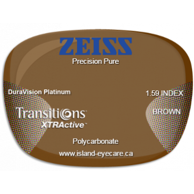 Zeiss Precision Pure 1.59 DuraVision Platinum Transitions XTRActive - Brown