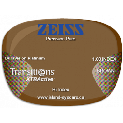 Zeiss Precision Pure 1.60 DuraVision Platinum Transitions XTRActive - Brown