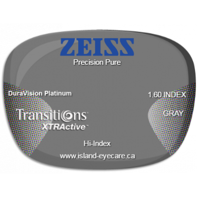 Zeiss Precision Pure 1.60 DuraVision Platinum Transitions XTRActive - Gray