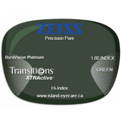 Zeiss Precision Pure 1.60 DuraVision Platinum Transitions XTRActive - Green