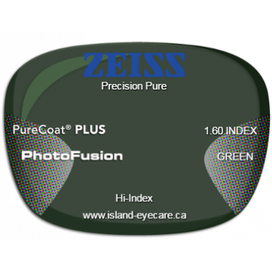 Zeiss Precision Pure 1.60 PureCoat PLUS Photofusion - Green
