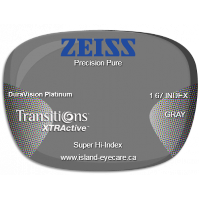 Zeiss Precision Pure 1.67 DuraVision Platinum Transitions XTRActive - Gray