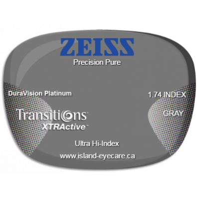 Zeiss Precision Pure 1.74 DuraVision Platinum Transitions XTRActive - Gray