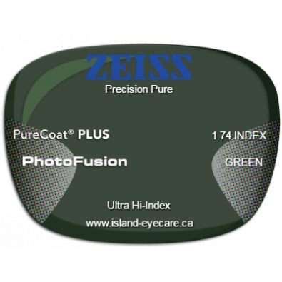 Zeiss Precision Pure 1.74 PureCoat PLUS Photofusion - Green