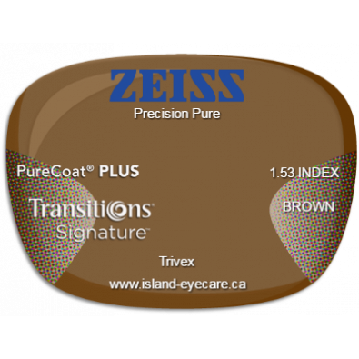 Zeiss Precision Pure Trivex PureCoat PLUS Transitions Signature - Brown