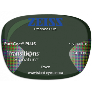 Zeiss Precision Pure Trivex PureCoat PLUS Transitions Signature - Green
