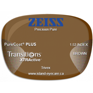Zeiss Precision Pure Trivex PureCoat PLUS Transitions XTRActive - Brown