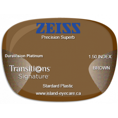 Zeiss Precision Superb 1.50 DuraVision Platinum Transitions Signature - Brown