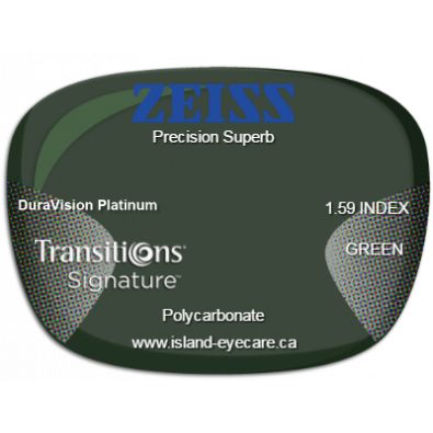Zeiss Precision Superb 1.59 DuraVision Platinum Transitions Signature - Green