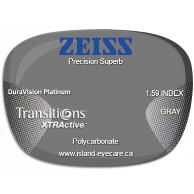 Zeiss Precision Superb 1.59 DuraVision Platinum Transitions XTRActive - Gray