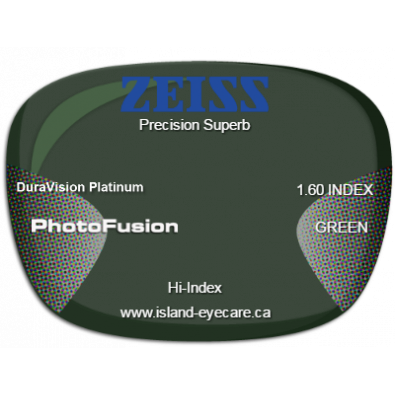 Zeiss Precision Superb 1.60 DuraVision Platinum Photofusion - Green