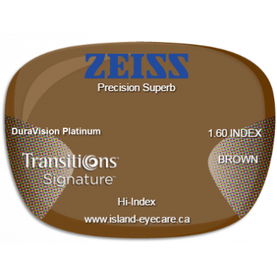 Zeiss Precision Superb 1.60 DuraVision Platinum Transitions Signature - Brown