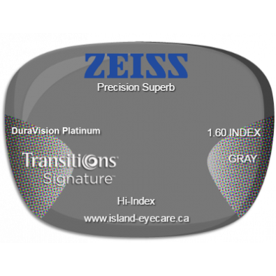 Zeiss Precision Superb 1.60 DuraVision Platinum Transitions Signature - Gray