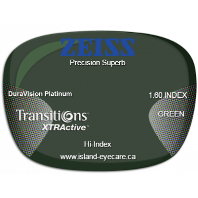 Zeiss Precision Superb 1.60 DuraVision Platinum Transitions XTRActive - Green