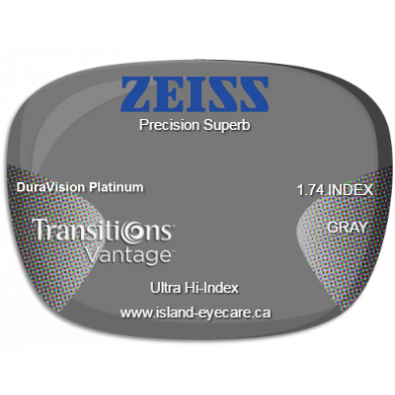 Zeiss Precision Superb 1.74 DuraVision Platinum Transitions Vantage - Gray