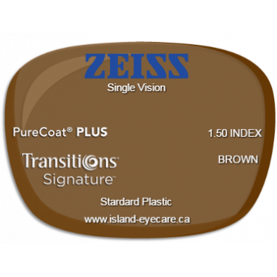Zeiss Single Vision 1.50 PureCoat PLUS Transitions Signature - Brown