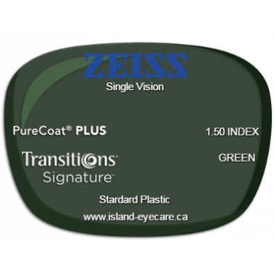 Zeiss Single Vision 1.50 PureCoat PLUS Transitions Signature - Green
