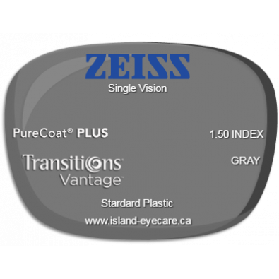 Zeiss Single Vision 1.50 PureCoat PLUS Transitions Vantage - Gray