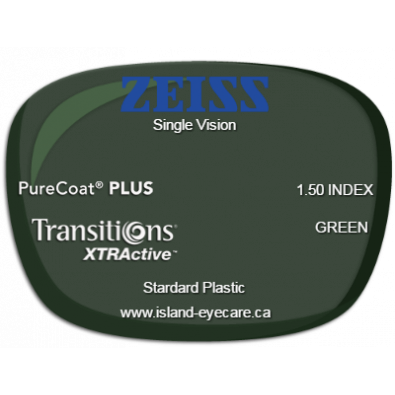 Zeiss Single Vision 1.50 PureCoat PLUS Transitions XTRActive - Green