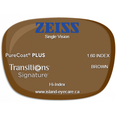 Zeiss Single Vision 1.60 PureCoat PLUS Transitions Signature - Brown