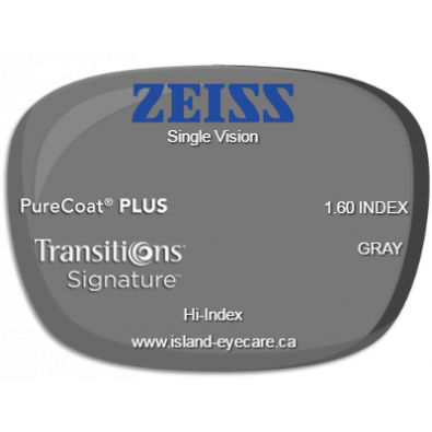 Zeiss Single Vision 1.60 PureCoat PLUS Transitions Signature - Gray