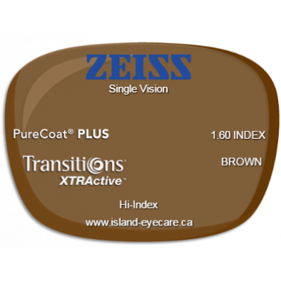 Zeiss Single Vision 1.60 PureCoat PLUS Transitions XTRActive - Brown