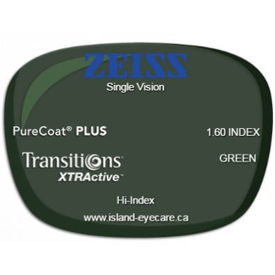 Zeiss Single Vision 1.60 PureCoat PLUS Transitions XTRActive - Green