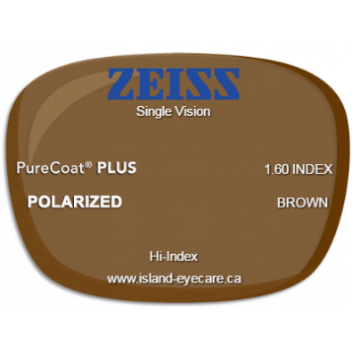 Zeiss Single Vision 1.60 PureCoat PLUS Zeiss Polarized - Brown